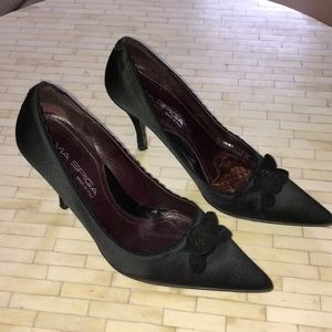 Vintage Via Spiga Black Satin Heels